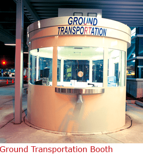 Ground Transportation Booth with Complete Shelving